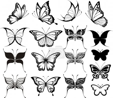 Illustration for Set of butterflies silhouettes isolated on white background in vector format very easy to edit, individual objects - Royalty Free Image