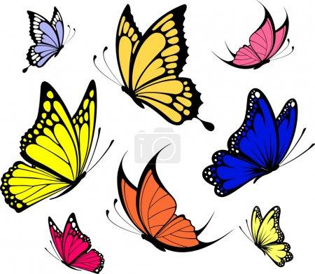 Illustration pour Ensemble de papillons isolés sur fond blanc au format vectoriel très facile à éditer, objets individuels - image libre de droit