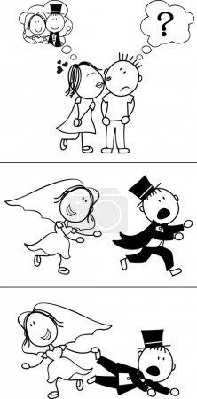 Illustration pour Ensemble de bande dessinée de couple isolé, marié fugueuse, idéal pour l'invitation de mariage drôle, format vectoriel très facile à éditer, objets individuels - image libre de droit