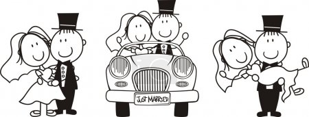Illustration for Set of isolated cartoon couple scenes, driving a car, carrying the bride and bride and groom hugging, ideal for funny wedding invitation - Royalty Free Image