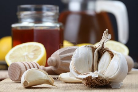 Photo for Honey, lemon and garlic as natural medicine - Royalty Free Image