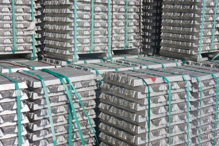Photo for Pile of aluminium bricks waiting for transport to the factory - Royalty Free Image