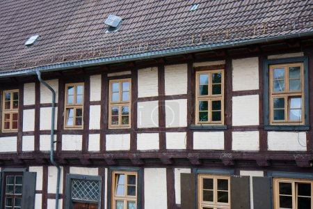 Facade of old historic town Quedlinburg, Germany