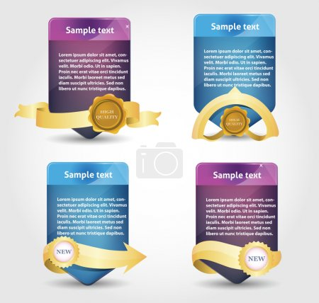 Web banner with gold ribbons