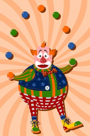Illustration for Clown juggling balls - Royalty Free Image