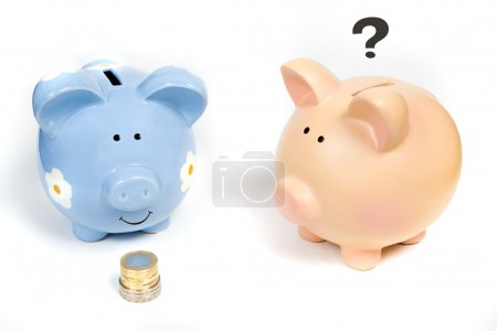A happy piggy bank and his wondering friend