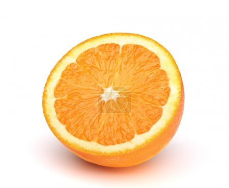 Photo pour Une demi-orange sur fond blanc - image libre de droit