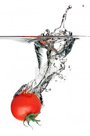 Photo pour Tomate éclaboussant dans l'eau, isolée sur un fond blanc - image libre de droit