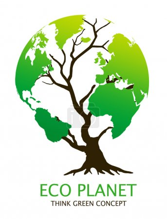 """Photo for Eco-friendly """"earth tree"""" illustration. Green environment concept - Royalty Free Image"""