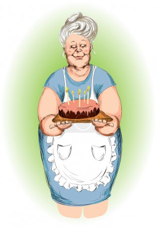 Grandmother with a pie