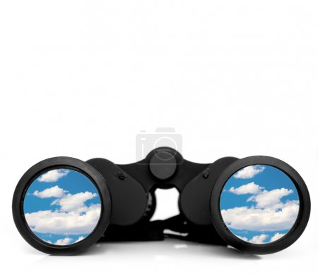 Photo for Future vision with binoculars and sunny skies - Royalty Free Image