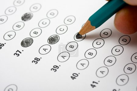 Photo for Multiple Choice test with pencil filing out bubbles - Royalty Free Image