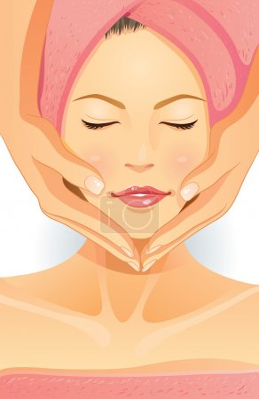 Illustration for Illustration of pretty girl facial - Royalty Free Image