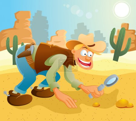 Illustration for Cartoon illustration of cowboy finding gold at dessert - Royalty Free Image