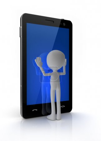 Photo pour Homme de toucher le téléphone portable avec écran tactile - image libre de droit