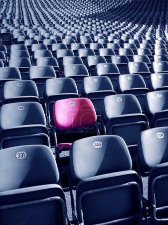 Foto de Concepto de singularidad representada por asiento del estadio color rojo-color de rosa. No hay nadie como tú - Imagen libre de derechos