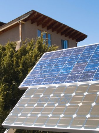 Solar panles in front of a private home