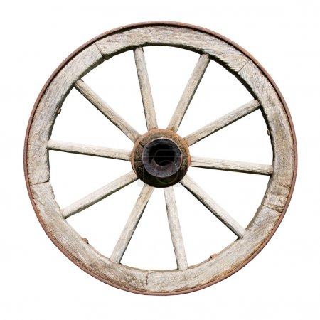 Photo pour Ancienne roue traditionnelle Wodden isolée sur fond blanc - image libre de droit