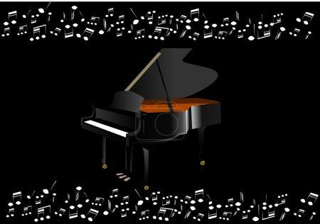 Illustration pour Piano noir avec notes résultant d'elle et fond noir - image libre de droit