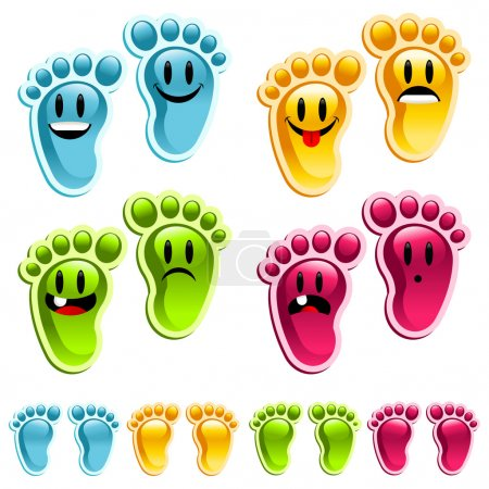 Illustration for Set of fun silly happy colorful feet. - Royalty Free Image