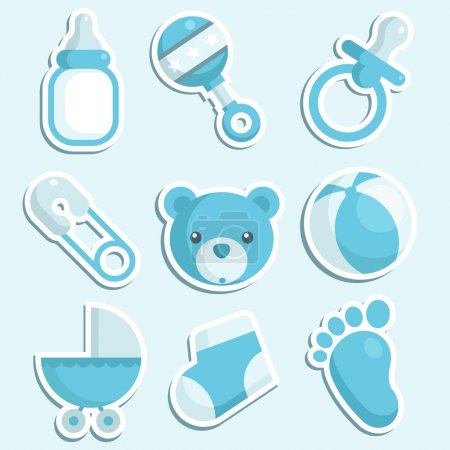 Baby Boy Shower Icons.