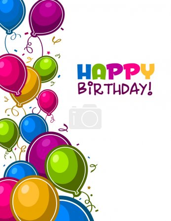 Photo for Vector birthday colorful greeting card. - Royalty Free Image
