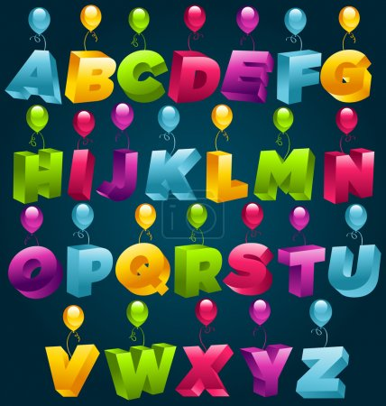 Illustration for Vector alphabet with colorful birthday balloons. - Royalty Free Image