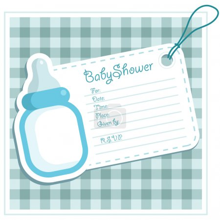 Blue Baby Bottle Invitation Card