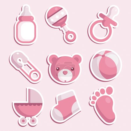 Pink Baby Shower Icons