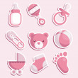 Vector set of pink baby shower icons....