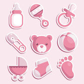 Vector set of pink baby shower icons