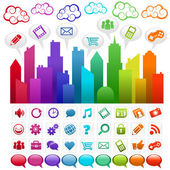 Colorful rainbow city and clouds with social media icons