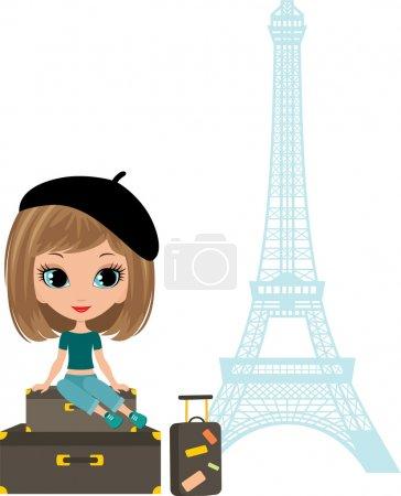 Pretty girl sits on a suitcase against Tour d'Eiffel