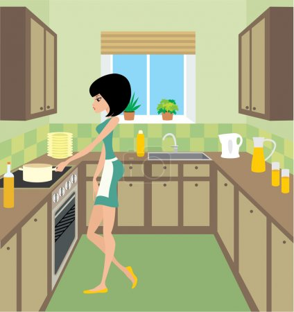 Young woman on kitchen