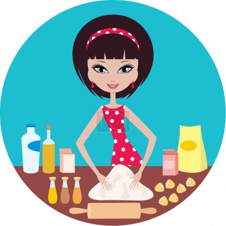 Young woman prepares dough