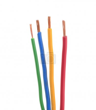 Four electrical wire or cable stripped isolated white
