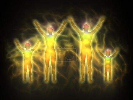 Foto de Ilustración de la silueta del cuerpo de energía humana con aura y los chakras. cuerpo de mujer, hombre y niños - Imagen libre de derechos