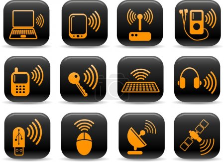 Illustration for Wireless communications vector iconset - Royalty Free Image