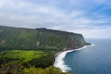Waipio valley, Big Island, Hawaii with coast line of Pacific ocean.