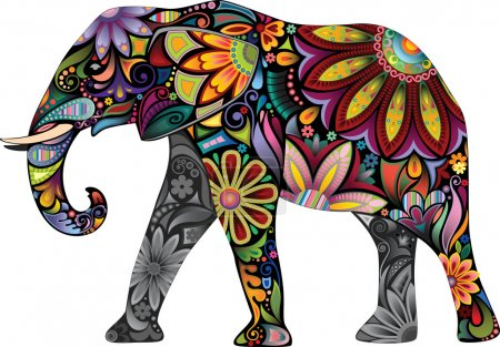 The silhouette of the elephant collected from various elements of a flower ornament.