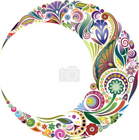 Illustration for Design element in the form of a crescent, complete with fragments of vegetable ornament. - Royalty Free Image