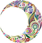 Design element in the form of a crescent complete with fragments of vegetable ornament