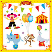 A fun circus set Each element is on a different layer Very easy to choose for exemple the clown or the big top