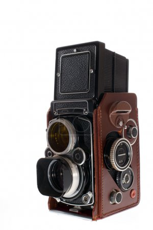 Photo for Old historic vintage photo camera on white background - Royalty Free Image