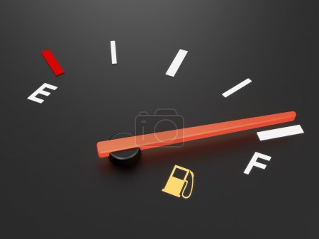 A closeup of a car fuel gauge showing full...