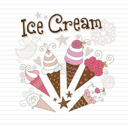 Illustration pour Crème glacée beauté - image libre de droit