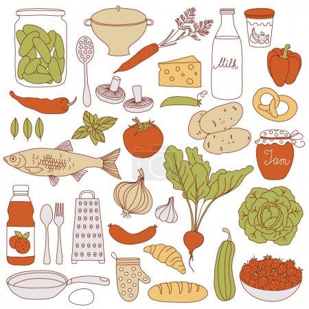 Illustration for Set of food, vector illustration - Royalty Free Image