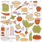 """Постер, картина, фотообои """"набор продуктов питания, векторные иллюстрации"""""""