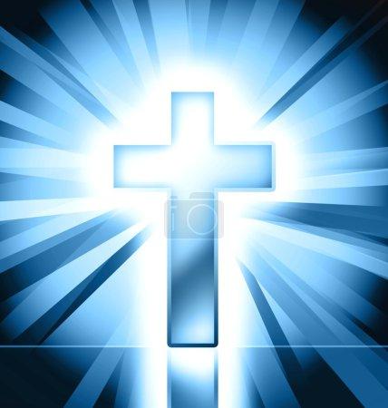 Photo for Blue catholic cross on blue background - Royalty Free Image