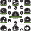 Vector icon set of sustainable energy generation a...